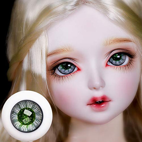 HMANE BJD Dolls Eyes, 14mm Glass Truffle Green Eyeball for 1/4 1/6 BJD Dolls (No Doll)