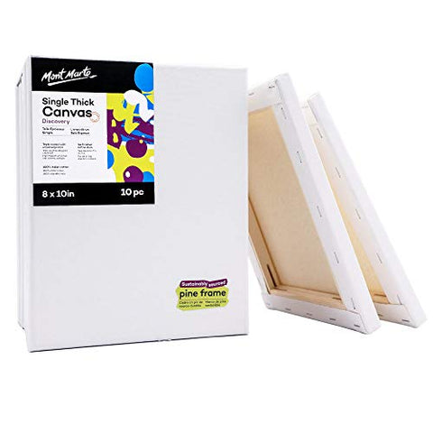 Mont Marte Canvas with Pine Frame, 8 X 10in 10 Pack, Suitable for Oil and Acrylic Painting