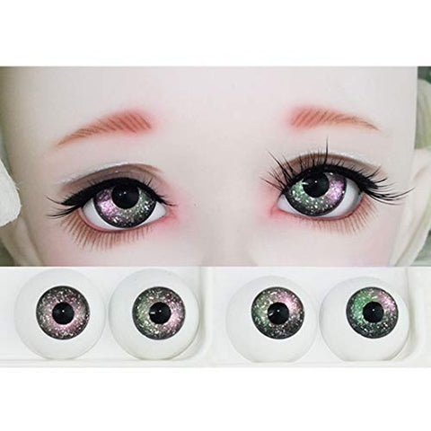 HMANE BJD Dolls Eyes, 14mm Starry Sky Gradient Fantasy Eyeballs for 1/6 BJD Dolls - Multicolor Coffee Green Purple