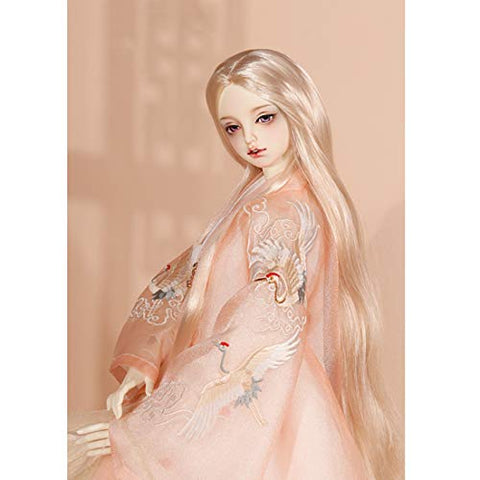 HMANE BJD Doll Wig, Centre Parting Long Srtaight Hair Wig for 1/3 BJD Dolls - (Pearl Silver) (No Doll)