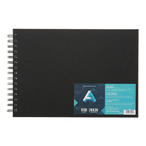 Art Alternatives Black Spiral-Bound Sketchbook, 11 x 8 inches Landscape Format, with 80