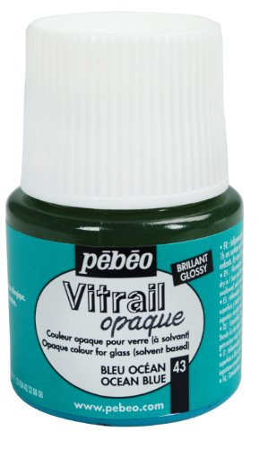 Pebeo 050-043CAN Vitrail Stained Glass Effect Glass Paint 45-Milliliter Bottle, Ocean Blue
