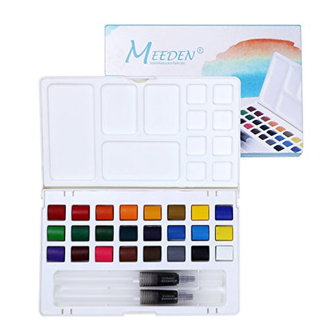MEEDEN Artists Travel Watercolor Paint Set Field Sketch Watercolor Kit - 24 Colors with 2 Water Brushes and A Mixing Palette Tray