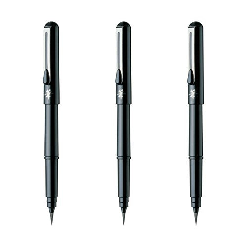 Pentel Arts Pocket Brush Pen, Includes 2 Black Ink Refills (XGFKP-A) 3 Sets With the