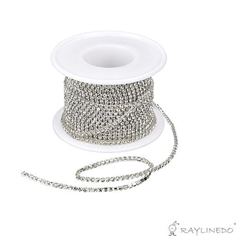 RayLineDo? 3A Class 3mm Clear Rhinestone Diamante Silver Plated Chain 10 Yard Lenght for Wedding