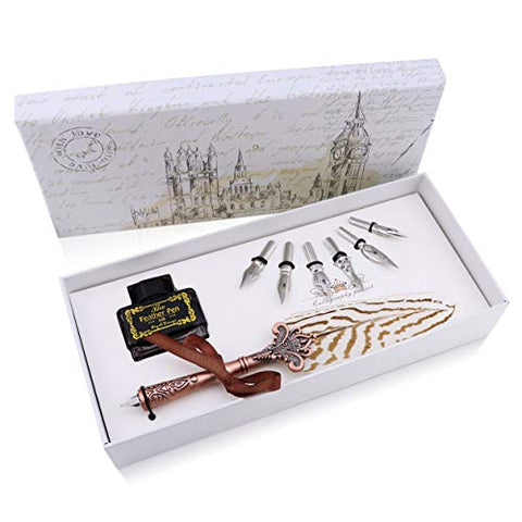 Luxury Feather Quill Pen 8pc Complete Set. Exquisite Handmade Feather Pen, Bottle of Ink, 6 Stainless Steel Nibs in Fancy Gift Box. Includes Helpful Manual