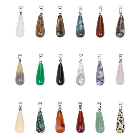 PH PandaHall 18 pcs Teardrop Shape Natural/Synthetic Gemstone Pendants with Stainless Steel Snap On Bails for Necklace Jewelry DIY Craft Making, Mixed Colors