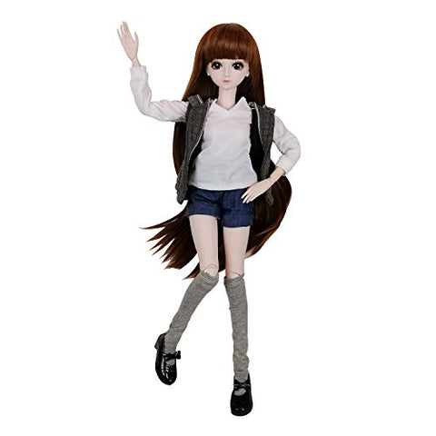 "EVA BJD 1/3 SD Doll 24"" Ball Jointed Gift BJD Doll +Makeup +Full Set School Uniform Girls (Long Brown Hair)"
