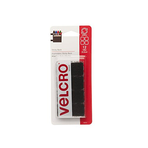 VELCRO Brand - Sticky Back Hook and Loop Fasteners | Perfect for Home or Office | 7/8in Squares |