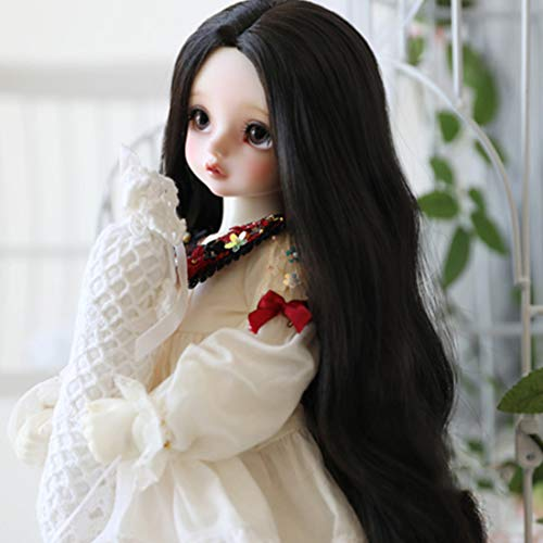 XSHION 6-7 Inch BJD SD Doll Wig, 1/6 BJD Doll Wig Heat Resistant Fiber Long Black Curly Fairy Maiden Doll Hair Curly Wavy Wig SD BJD Doll Wig