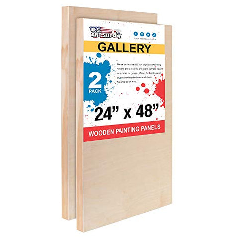 "U.S. Art Supply 24"" x 48"" Birch Wood Paint Pouring Panel Boards, Gallery 1-1/2"" Deep Cradle (Pack of 2) - Artist Depth Wooden Wall Canvases - Painting Mixed-Media Craft, Acrylic, Oil, Encaustic"