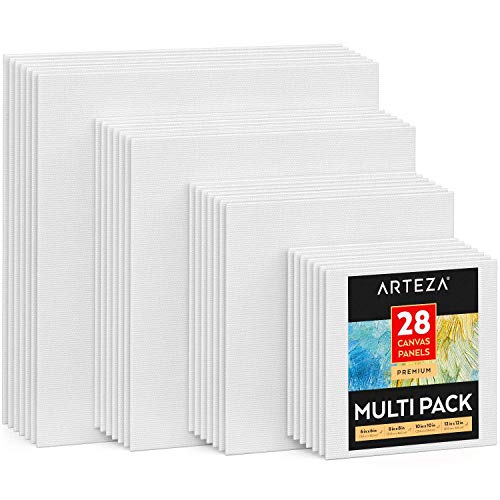 Arteza Canvas Panels Multi-Pack, White Blank Square, 6x6, 8x8, 10x10, 12x12 Inch, Set of 28, 100% Cotton, 12.3 oz Primed, 7 oz Unprimed, Acid-Free, for Acrylic & Oil Painting