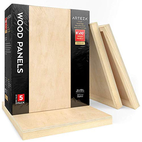 Arteza Wooden Canvas Board, 8x10 Inch, Pack of 5, Birch Wood, Cradled Artist Wood Panels for Painting, Encaustic Art, Wood Burning, Pouring, Use with Oils, Acrylics