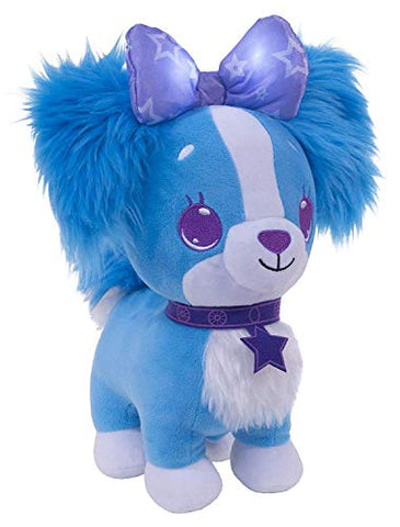 Wish Me Pets - Light Up LED Plush Stuffed Animals - Fluffy Blue Cavalier Puppy with Purple Bow