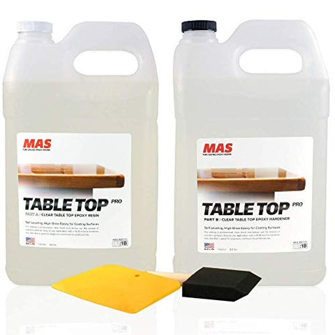 Crystal Clear Epoxy Resin Two Gallon Kit | MAS Tabletop Pro Epoxy Resin & Hardener | Two Part Kit for Wood Tabletop, Bar Top, Resin Art | Set Includes Spreader & Brush | Professional Grade (2 Gallon)