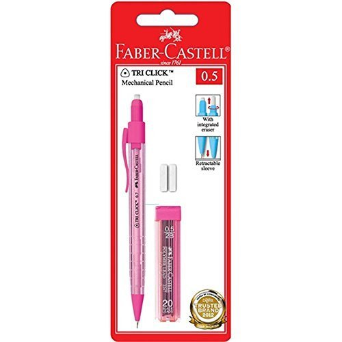 Faber-Castell Tri Click Mechanical Pencil 0.5mm Pink, (1x Pencil, 12 Refill Leads 2B, 2x Eraser, in