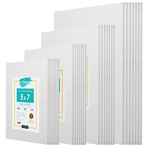 Pre-Primed Painting Canvas Panels, 28 Boards Multi-Pack, 5 x 7, 8 x 10, 9 x 12, and 11 x 14, White Cotton Canvases for Acrylic, Oil, Gouache, Tempera Paint, Art Gift for Kids, Adults, Beginners