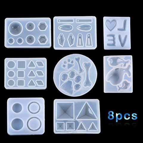 iSuperb 8 Pcs Jewelry Silicone Mold DIY Making Mold Resin Epoxy Pendant Mold for Keychain Crafting, Resin Epoxy, Pendant Earrings Making