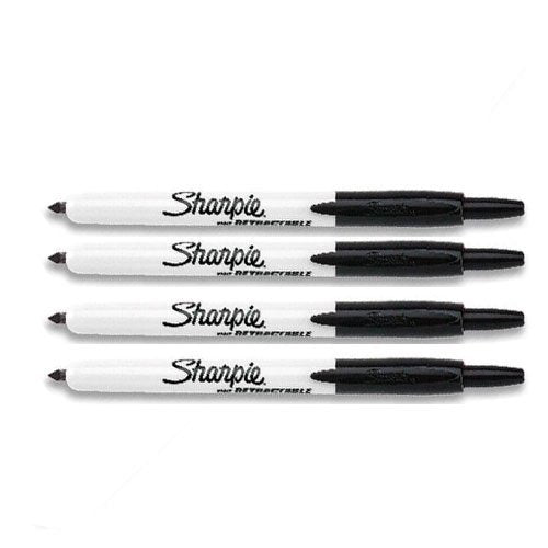 Sharpie Retractable Markers black fine tip, 4 Markers Per Order (36701)
