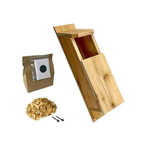 KingWood Cedar Owl House Box Bird House w/nesting material Owl Box Large Birdhouse Screech Owl House Kit Owl House Box For Nesting
