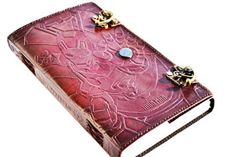Iron Man Embossed Handmade Leather Bound Stone Journal/Vintage Art Sketchbook & Travel Dairy with Vintage Lock Latch
