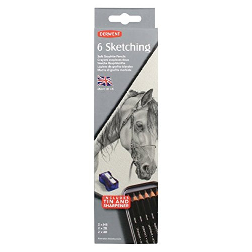 Derwent Sketching Pencils, 4mm Core, Metal Tin, 6 Count (0700836)