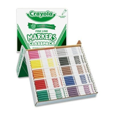 Crayola Washable Classpack Markers, Fine Point, Ten Assorted Colors, 200/Box