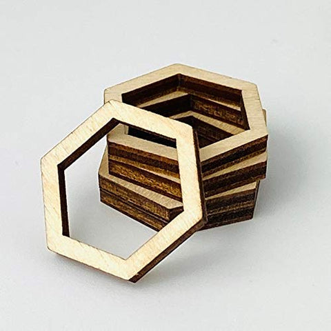 ALL SIZES BULK (12pc to 100pc) Unfinished Wood Wooden Hollow Hexagon Hexagons Frame Laser Cutout Dangle Earring Jewelry Blanks Charms Ornaments Shape Crafts Made in Texas