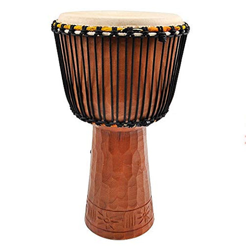African Drum 12 Inch African Drum Musical Instrument West African Bongo Drum Hand Made Carving Craft for Performances (Color : Wood, Size : 12 Inch)