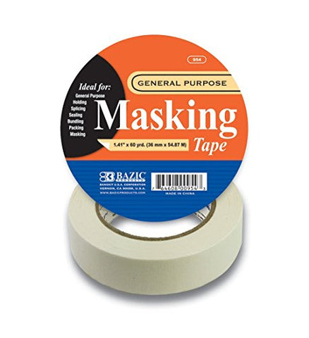 "BAZIC 1.41"" X 2160"" (60 Yards) General Purpose Masking Tape, Case Pack 24"