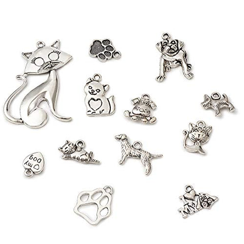 Beadthoven 1Box/95pcs Antique Silver Tibetan Style Dog Cat Pet Charms Pendants Beads for DIY Necklace Bracelet Jewelry Findings Pet Lovers