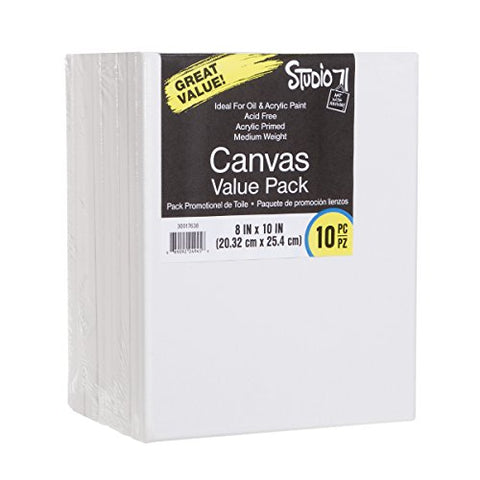 "Darice Studio 71, 10 Piece, 8 by 10 inch, Stretched Canvas Value Pack, 8"" x 10"", White"