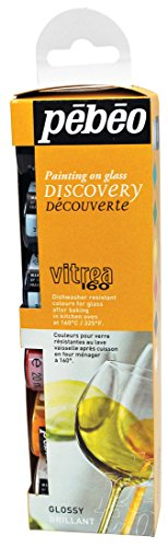 Pebeo Vitrea 160 Glass Paint Discovery Collection, 6 Assorted 20-Milliliter Glossy Colors