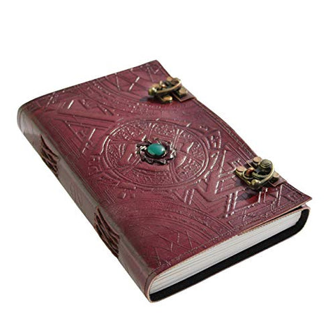 Doctor Strange Eye of Agamotto Embossed Handmade Stone Leather Journal Art Sketchbook Travel Dairy with Vintage Lock Latch