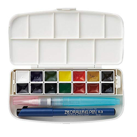 Kuretake Zig Bundle Set , Gansai Tambi Fils Watercolor 14 Colors (KG301-1) , Starry 6 Colours (MC20SC/6V) Japan Import