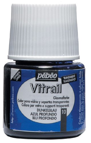 Pebeo 050-010CAN Vitrail Stained Glass Effect Glass Paint 45-Milliliter Bottle, Deep Blue