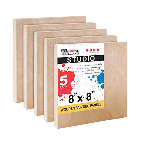 "U.S. Art Supply 8"" x 8"" Birch Wood Paint Pouring Panel Boards, Studio 3/4"" Deep Cradle (Pack of 5) - Artist Wooden Wall Canvases - Painting Mixed-Media Craft, Acrylic, Oil, Watercolor, Encaustic"