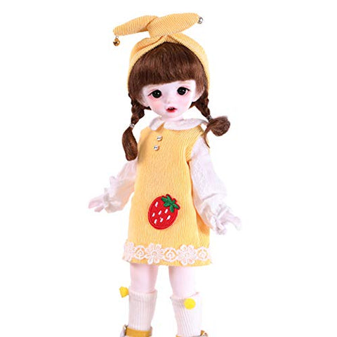 ZDD Cute Doll 1/6 10.3Inch 26CM BJD Doll Full Set Ball Jointed Mini Doll Included Clothes and Wig, for Girl, A