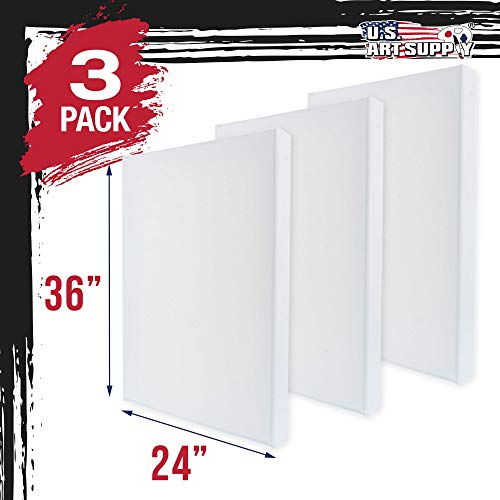U.S Acrylic Gesso Triple Primed 12-Ounce 100/% Cotton Acid-Free Back Stapled Pouring Art Art Supply 24 x 36 Gallery Depth 1-1//2 Profile Stretched Canvas 3-Pack