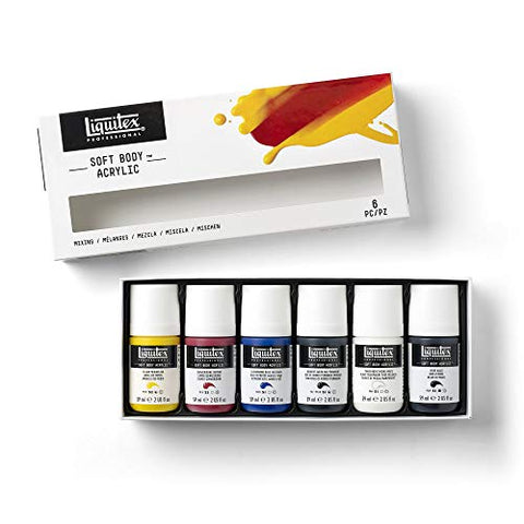Liquitex Professional Soft Body Acrylic Paint, Mixing Set 2-oz, 6 Colors