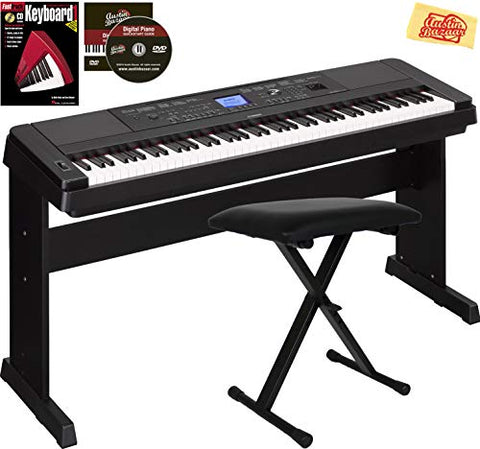 Yamaha DGX-660 Digital Piano - Black Bundle with Adjustable Bench, Instructional Book, Austin Bazaar Instructional DVD, and Polishing Cloth