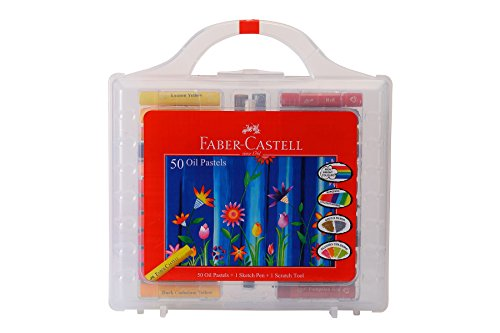 Faber-castell Oil Pastels Set of 50 Easy to Pack and Carry Colour Tool Box (Plastic Box Packing)