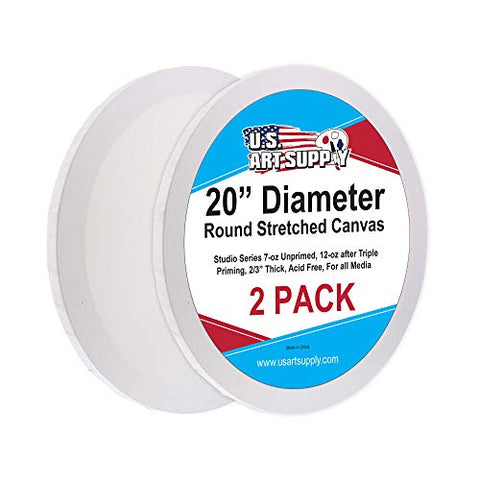 U.S. Art Supply 20 Inch Diameter Round 12 Ounce Primed Gesso Professional Quality Acid-Free Stretched Canvas (Pack of 2)