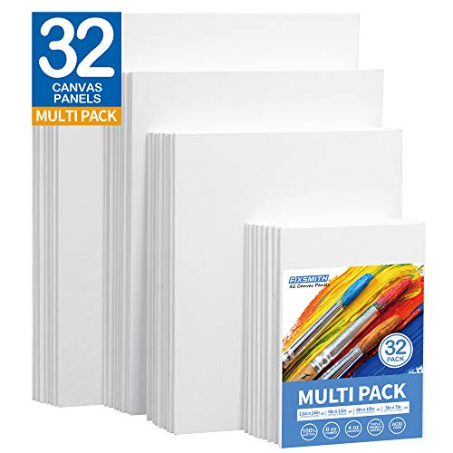 FIXSMITH Painting Canvas Panels Multi Pack- 5x7,8x10,9x12,11x14 (8 of Each),Set of 32,100% Cotton,Primed White Canvases,for Acrylic,Oil,Other Wet or Dry Art Media,Art Gift for Kids,Adults,Beginners.