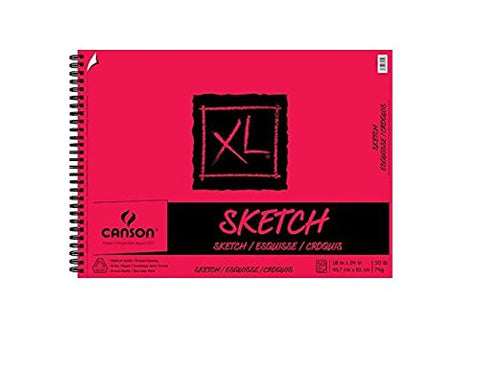 Canson XL Series Paper Sketch Pad for Charcoal, Pencil and Pastel, Side Wire Bound, 50 Pound, 18 x 24 Inch, 50 Sheets