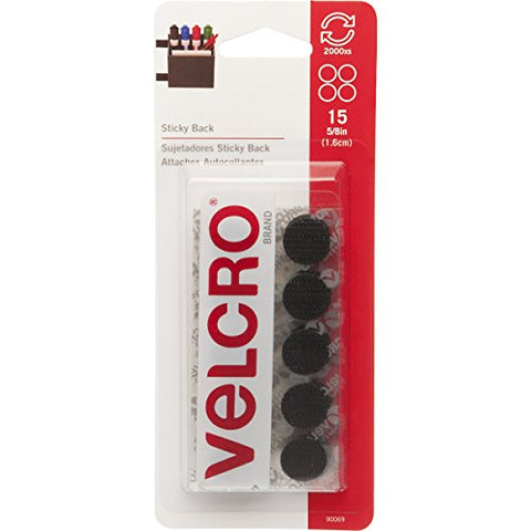 VELCRO Brand - Sticky Back Hook and Loop Fasteners | Perfect for Home or Office | 5/8in Coins |