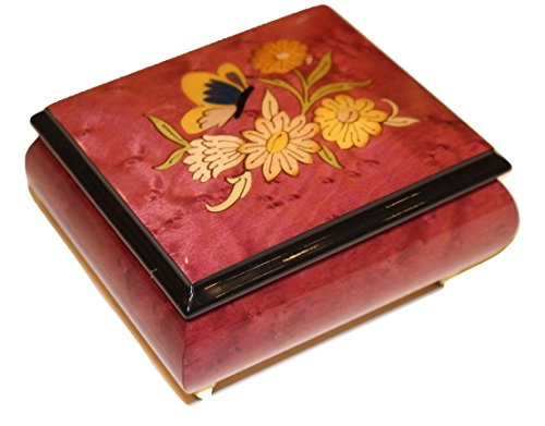 Wine Italian inlaid musical jewelry box with original butterfly design and customizable tune