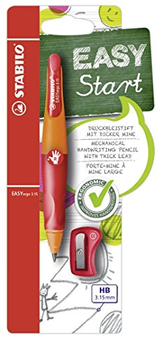 STABILO EASYergo 3,15 with 1 thick &HB Lead Sharpener-Ergonomic Pencil for Right-Handed