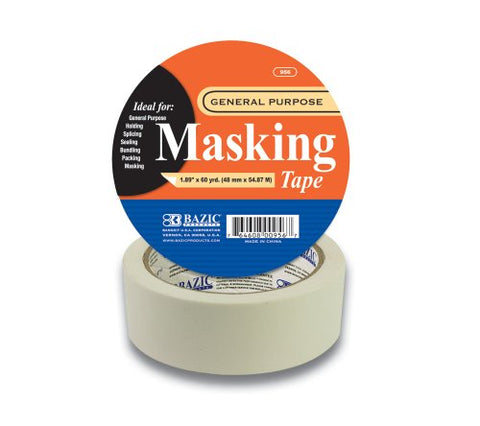 "BAZIC 1.89"" X 2160"" (60 Yards) General Purpose Masking Tape, Case Pack 24"