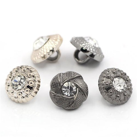 Stock Show 100Pcs Fancy Vintage Style Round White Diamond Rhinestone Buttons Galore Buttons, 11mm